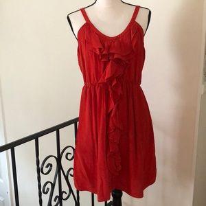 Rebecca Taylor red silk ruffle dress w/pockets‼️